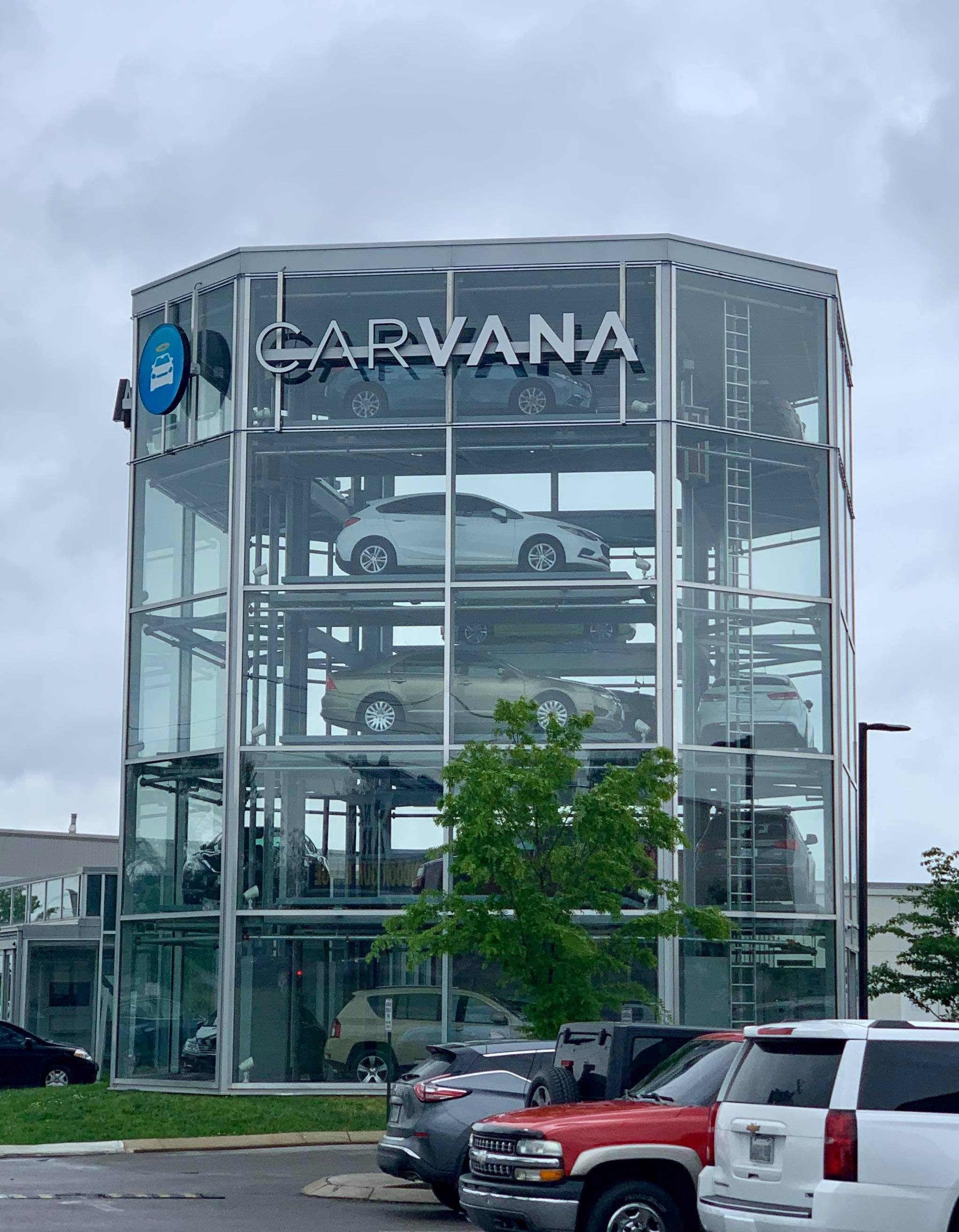 - Last but not least, I'll leave you with this whimsical discovery: Carvana. Apparently, the structure pictured is essentially a vending machine for cars. Maybe its common elsewhere, but I'd never seen one of those before.Oh Nashville, you never cease to surprise me.