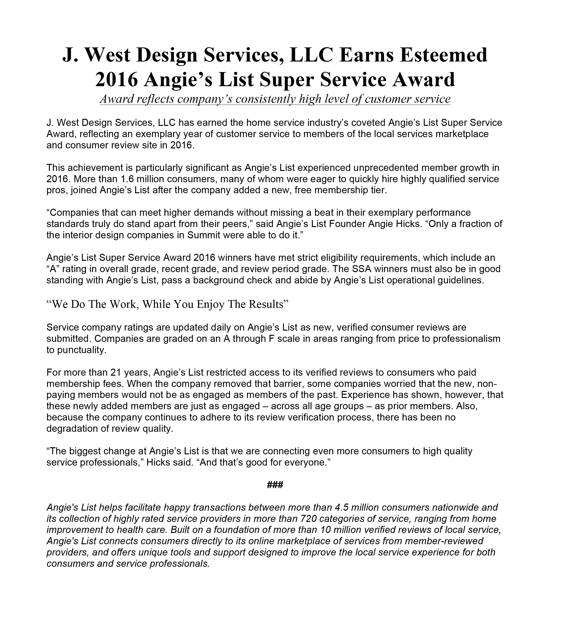 J. West Design Services Earns Esteemed 2016 Angie's List Super Service Award