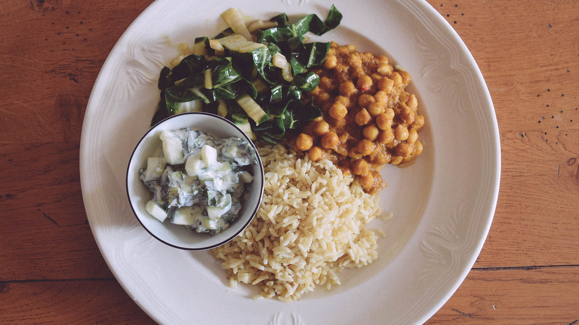 Chana Masala with a chicory and cucumber raita