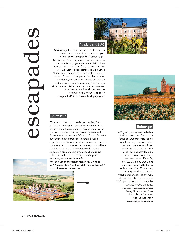 Yoga Journal France / escapades
