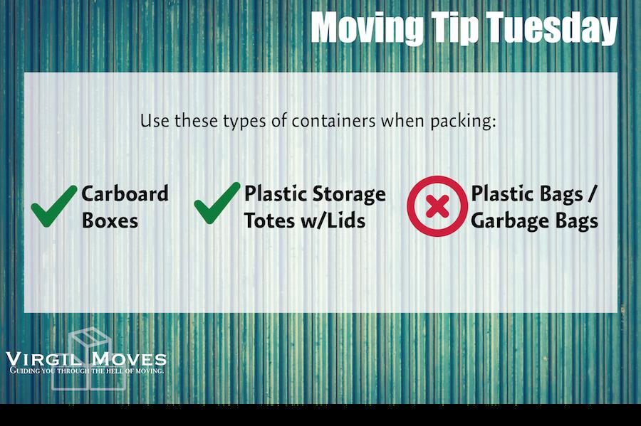 Moving Boxes - Trash Bags - Plastic Totes