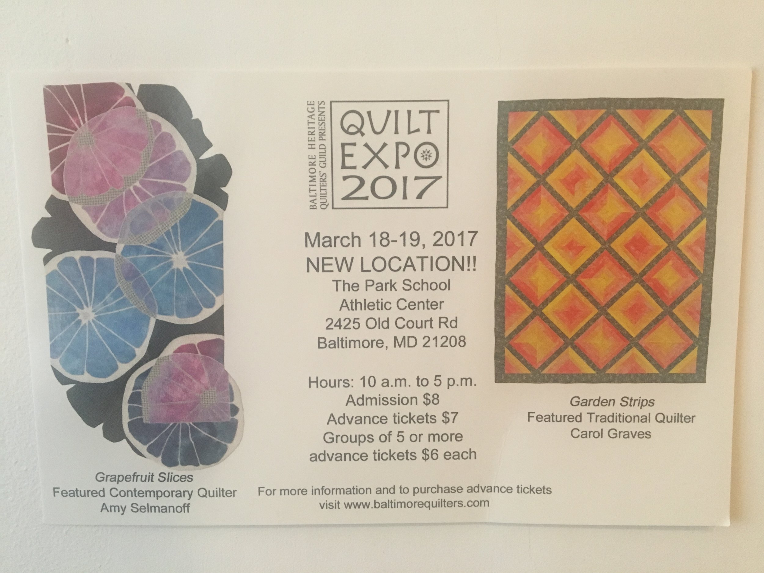 Check out the  BHQG Quilt Expo coming to Baltimore in March!