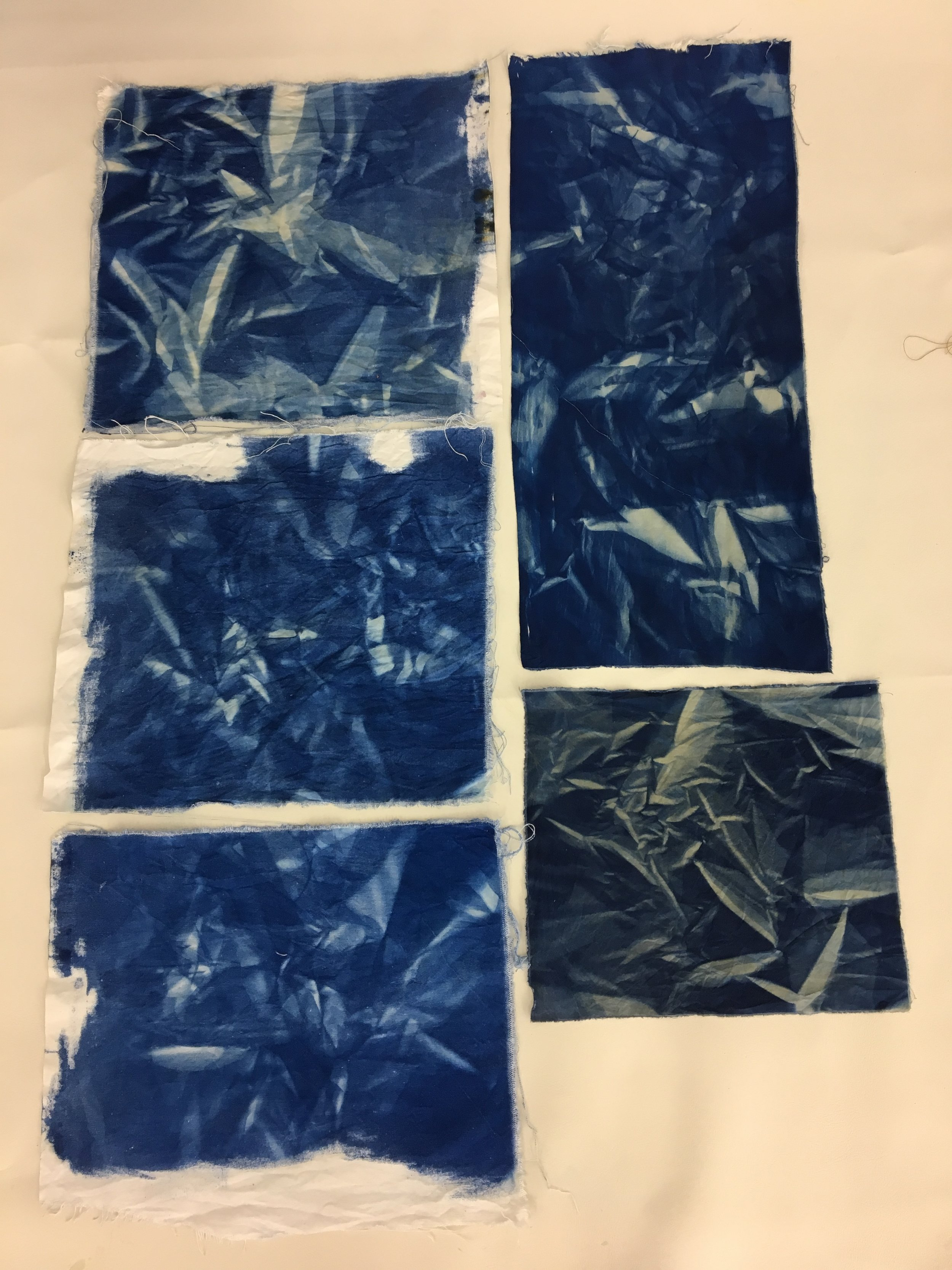 My favorite process ended up being this -- folding the fabric up and pressing under a piece of glass. The effect has so much depth and texture!