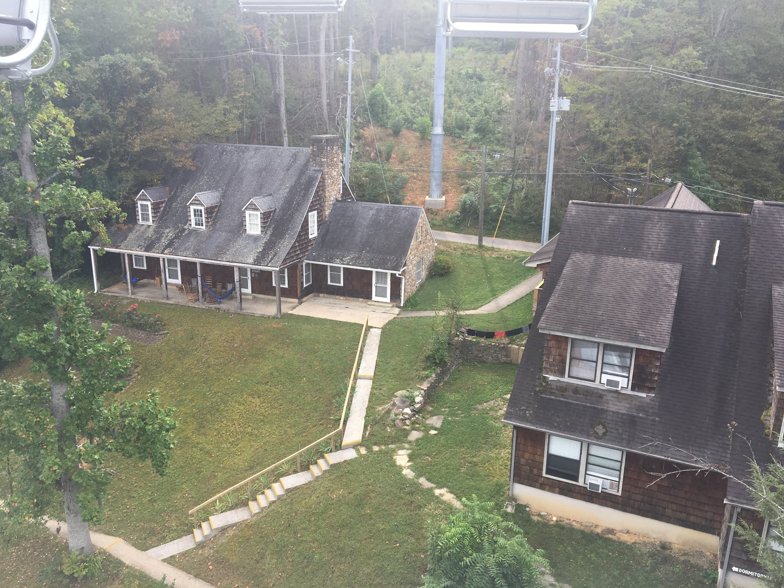 View of part of the Arrowmont campus from (one of) the local chair lift attractions