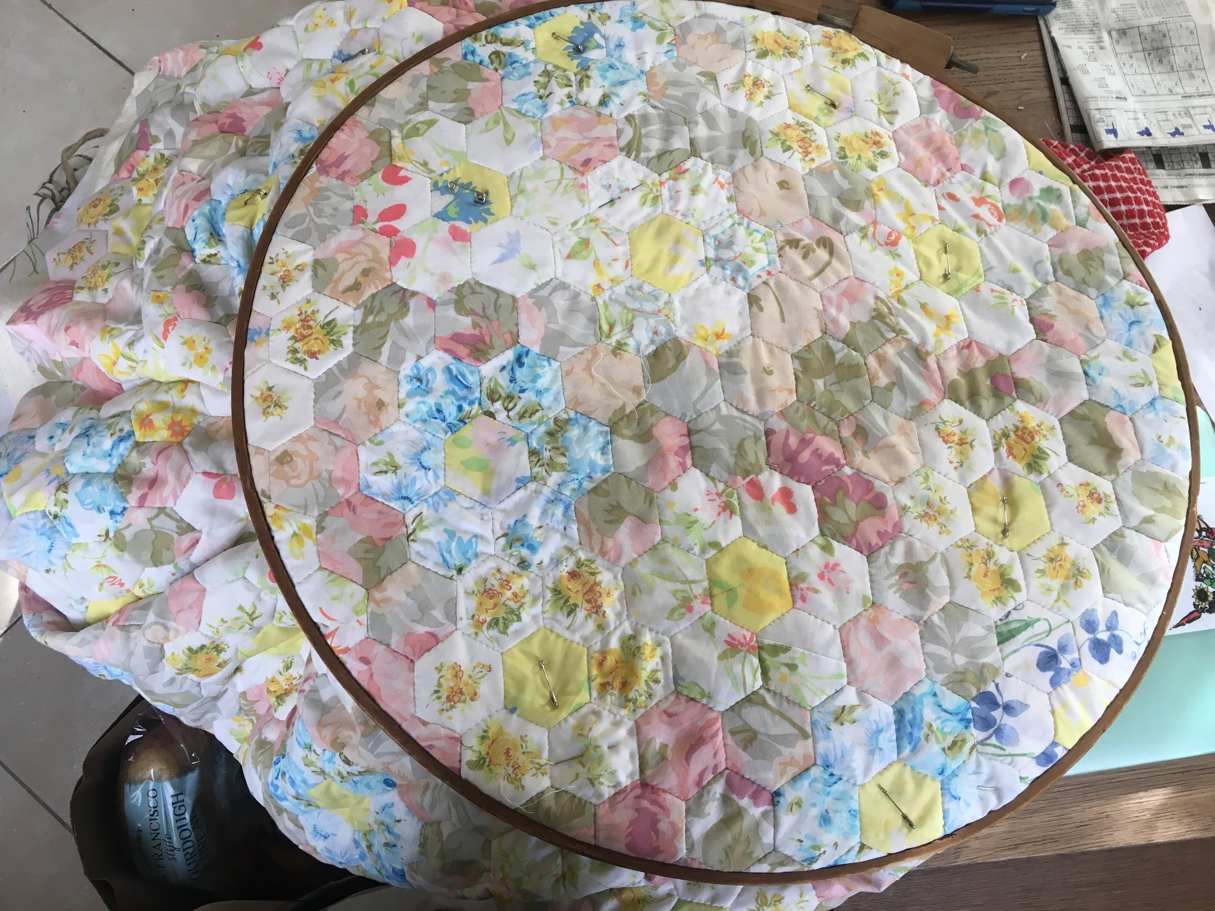 The quilting begins! I've had this quilting hoop for so long and never thought I would actually end up using it