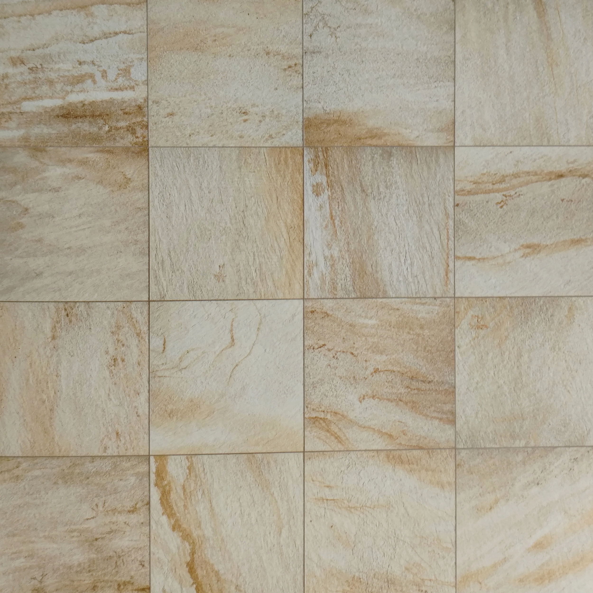 """QuartziteDorada 12"""" x 12"""" Porcelain (16 pieces shown for variation) Also available in : 6"""" x 6"""", 12"""" x 24"""", 18""""x 18"""""""