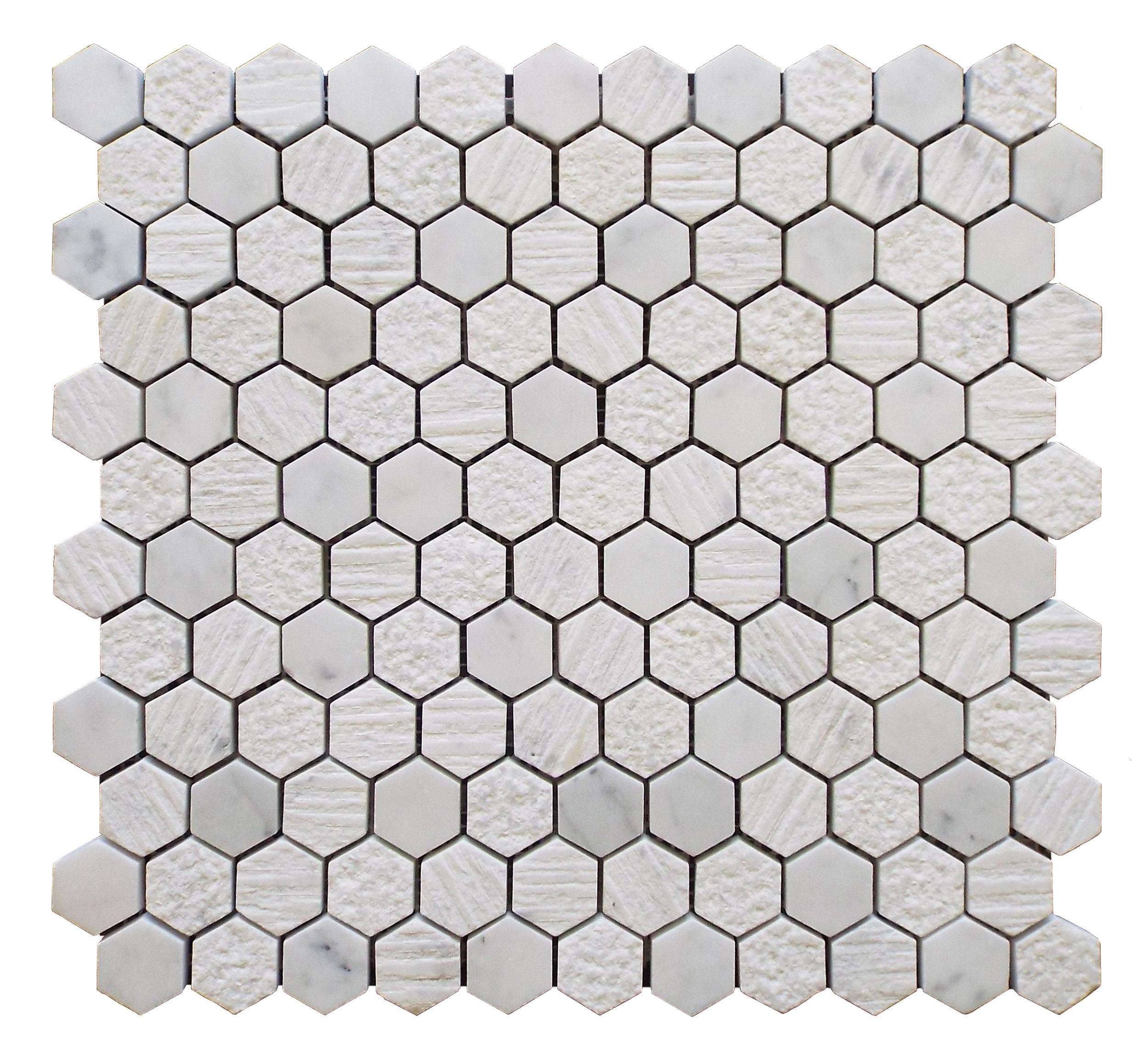 """Cararra - 1"""" Hexagon"""