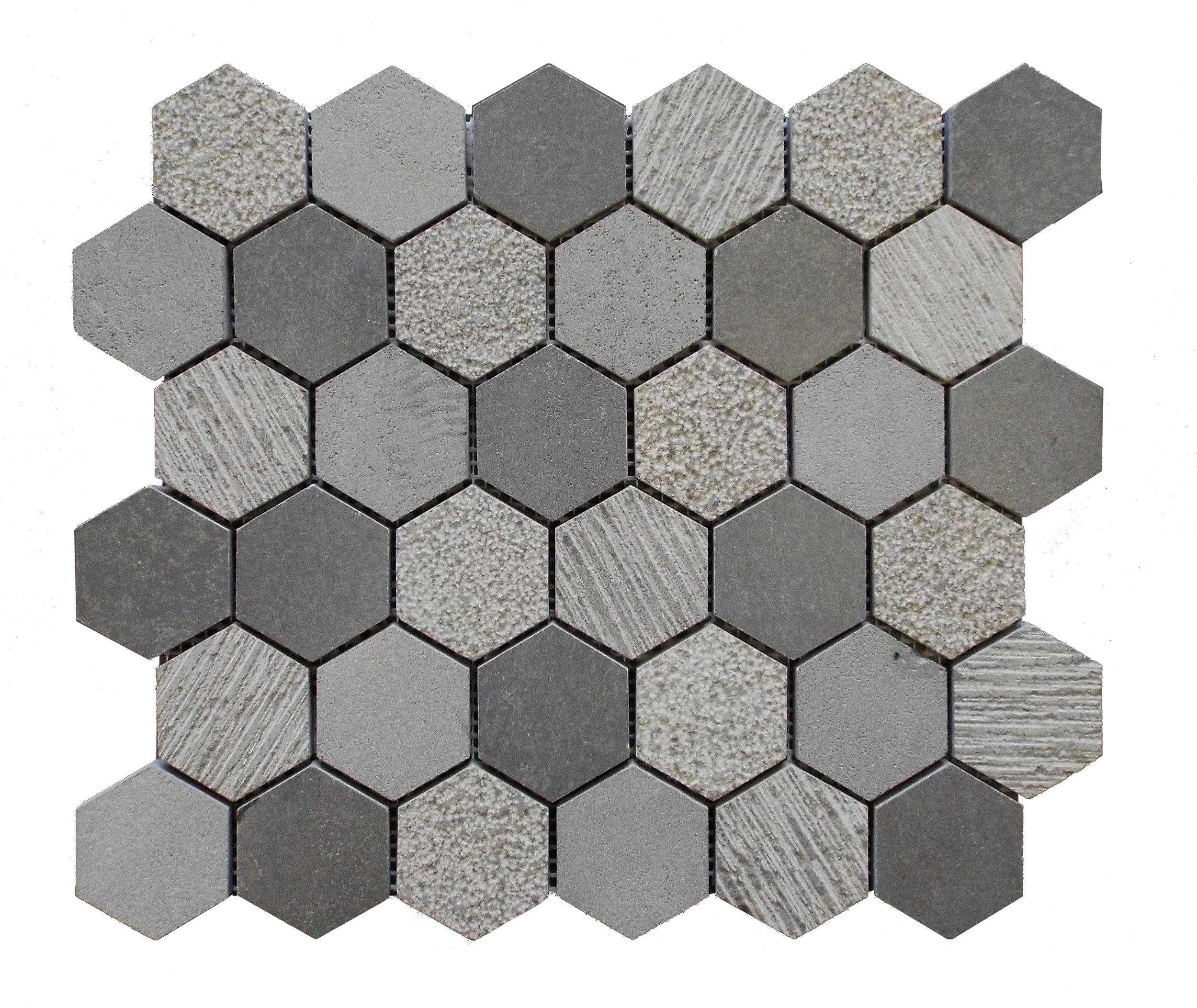 """Basalt  - 2"""" Hexagon"""