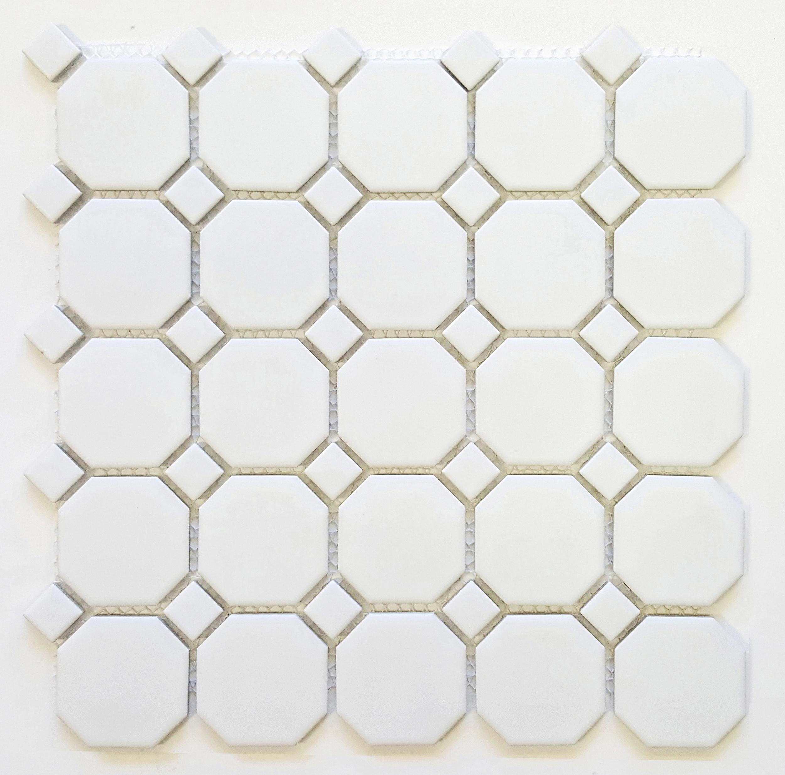 """OCT-512  Octagon 2-1/4"""" Matte White w/ Matte White Dot"""