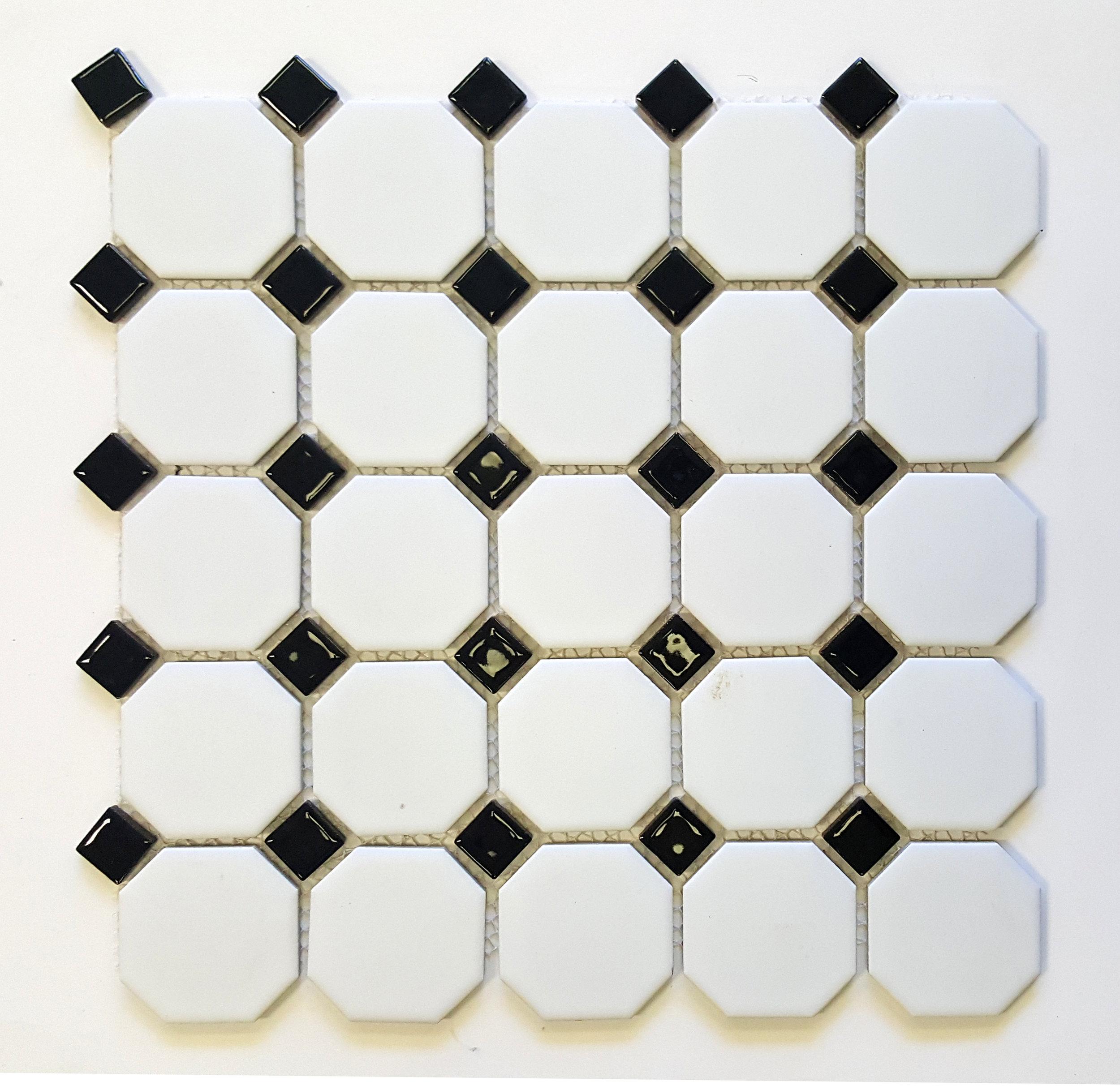"""OCT-518  Octagon 2-1/4"""" Matte White w/ Shiny Black Dot"""