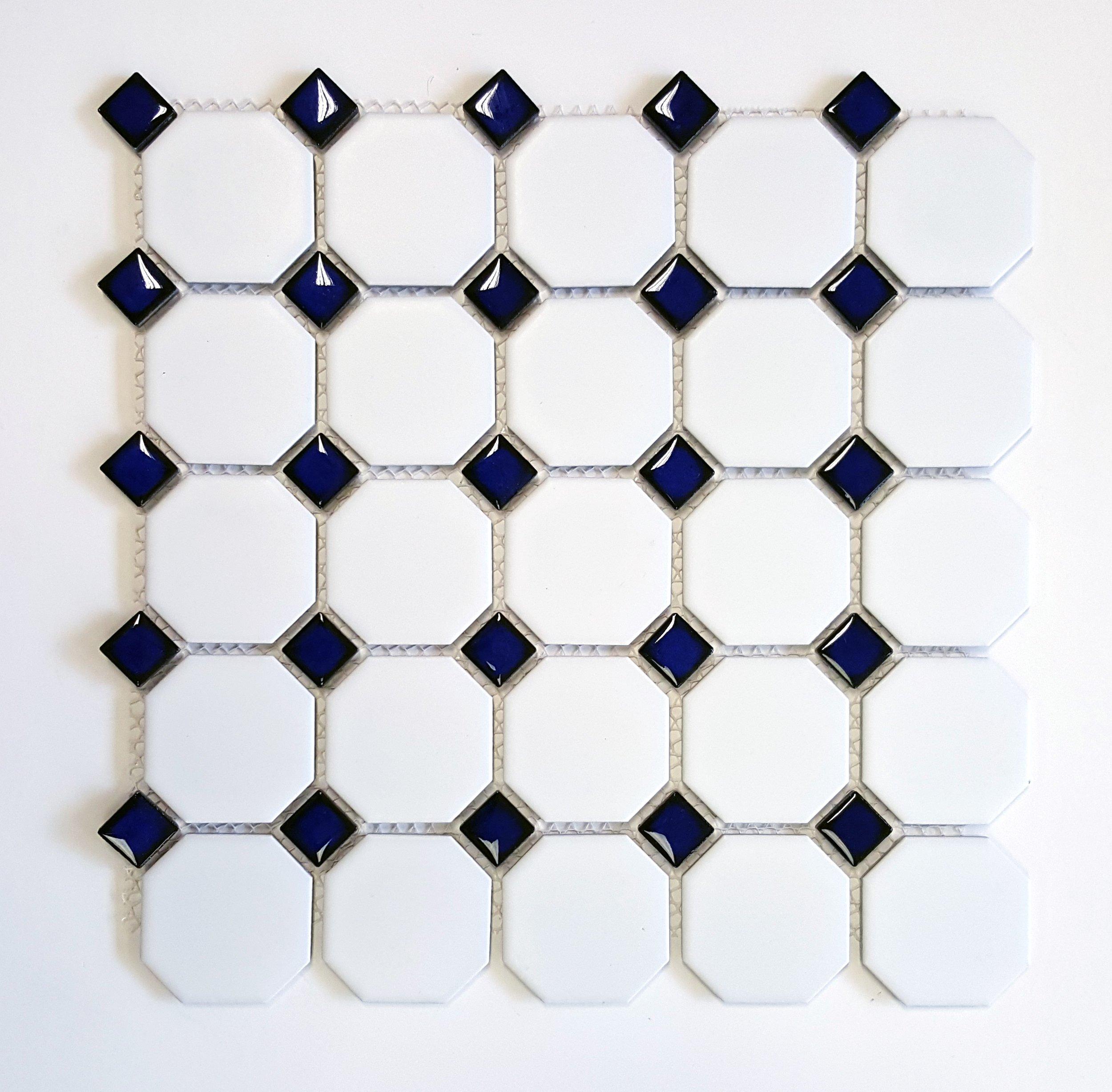 "OCT-513  Octagon 2-1/4"" Matte White w/ Shiny Cobalt Blue Dot"