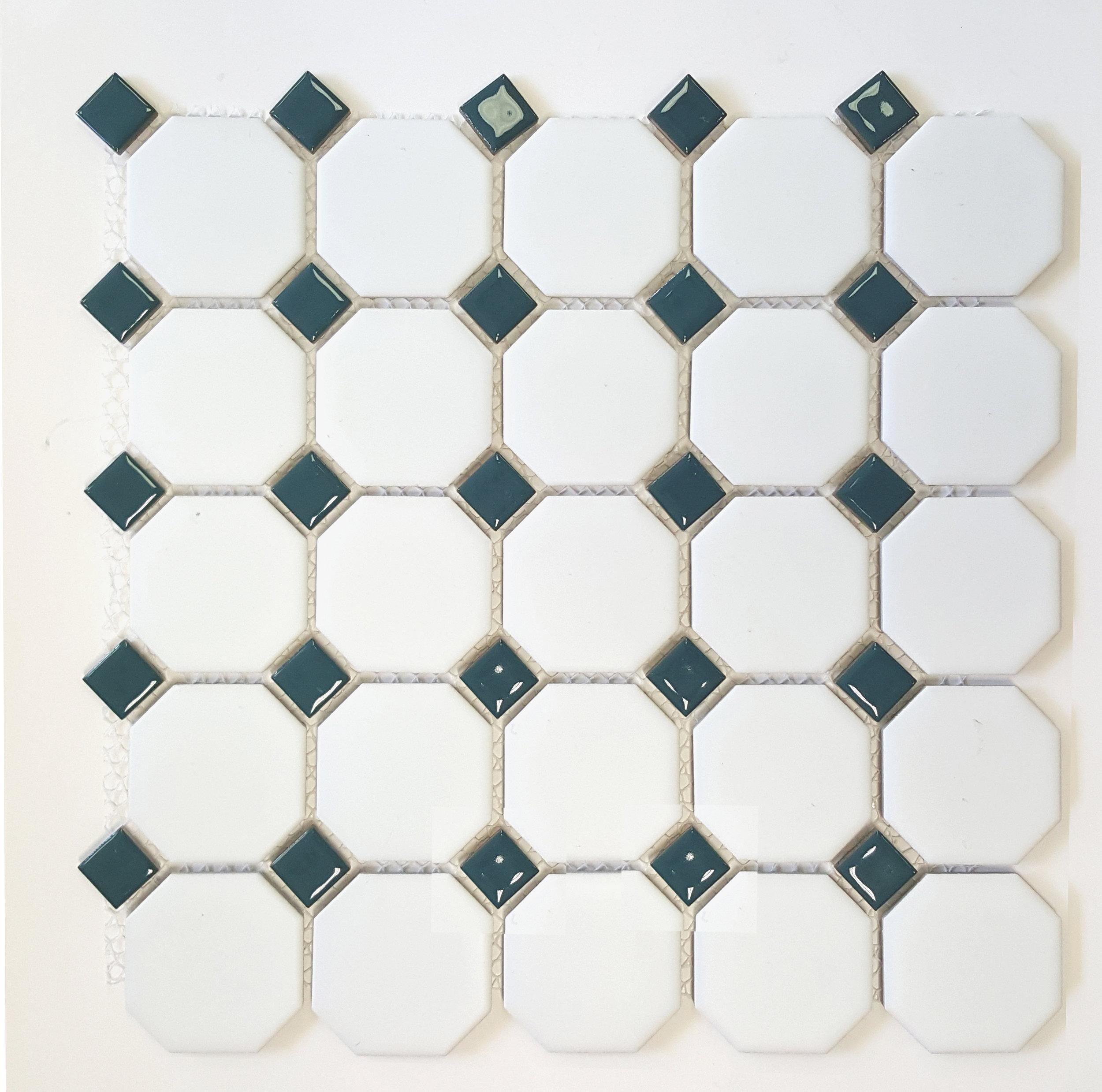 "OCT-519  Octagon 2-1/4"" Matte White w/ Shiny Teal Dot"