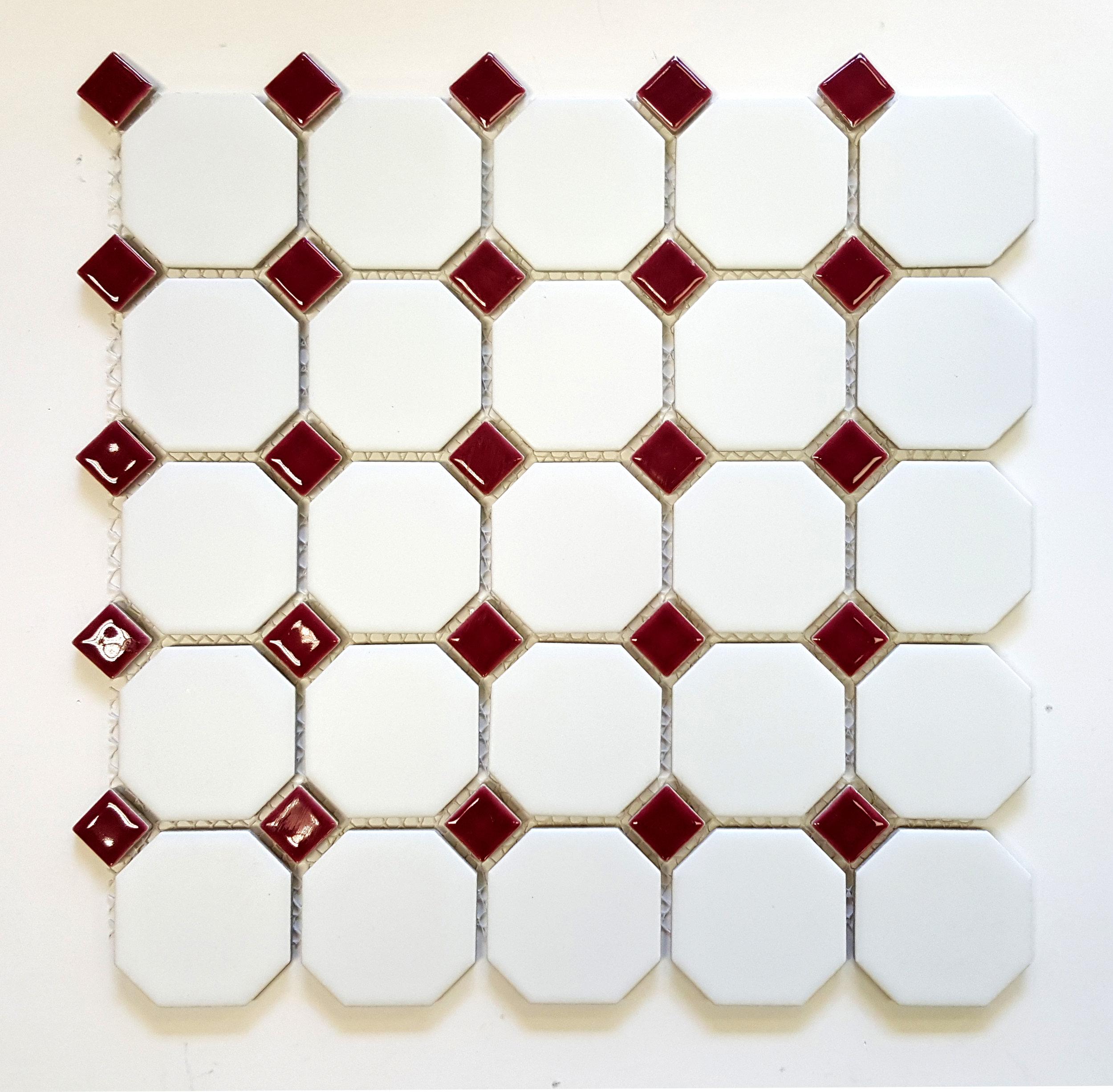 "OCT-521  Octagon 2-1/4"" Matte White w/ Shiny Burgundy Dot"