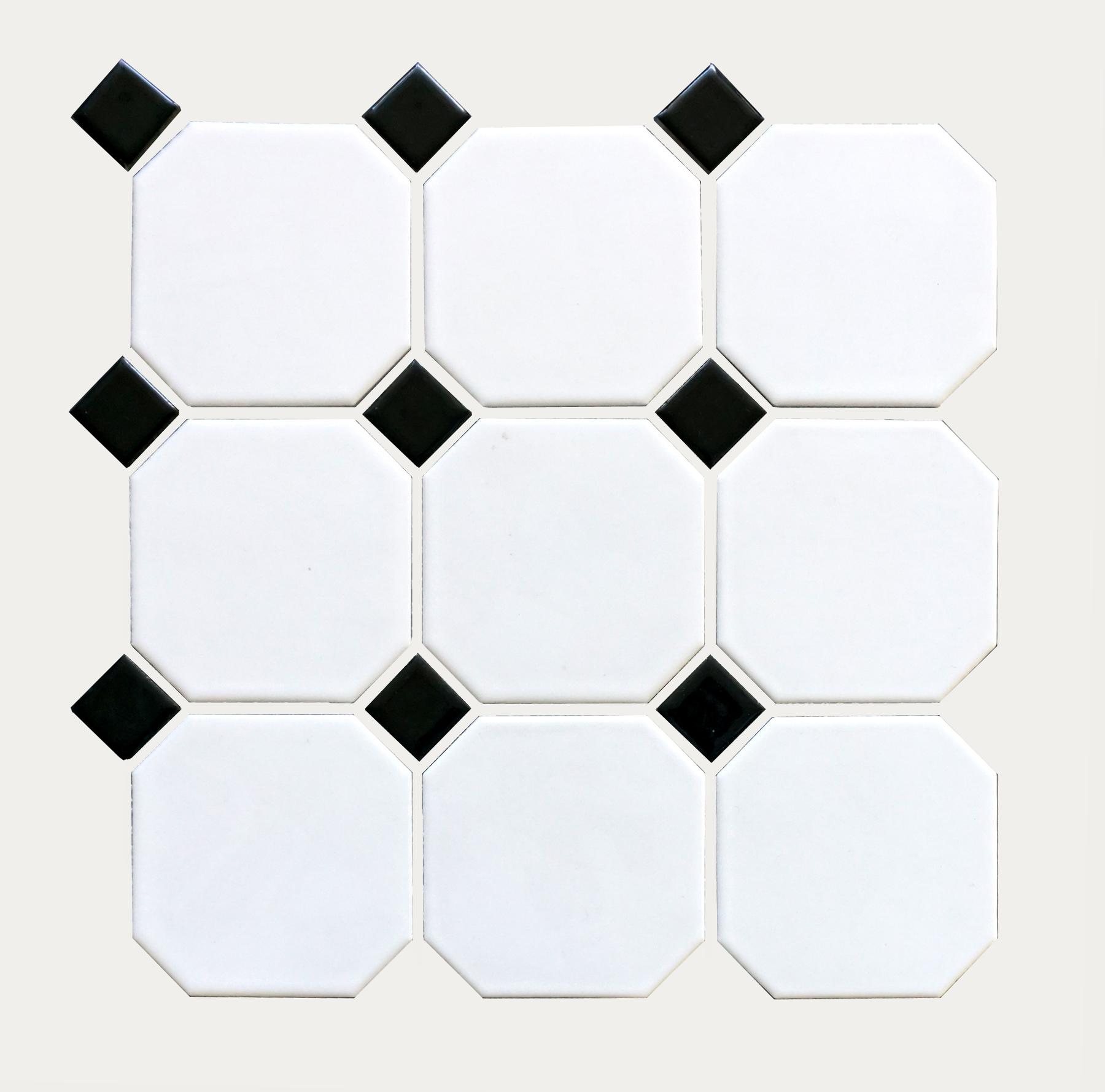 "OCTM-518  Octagon 4"" Matte White w/ Shiny Black Dot"