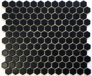 "HEX-1022  Hexagon 1"" Matte Black"