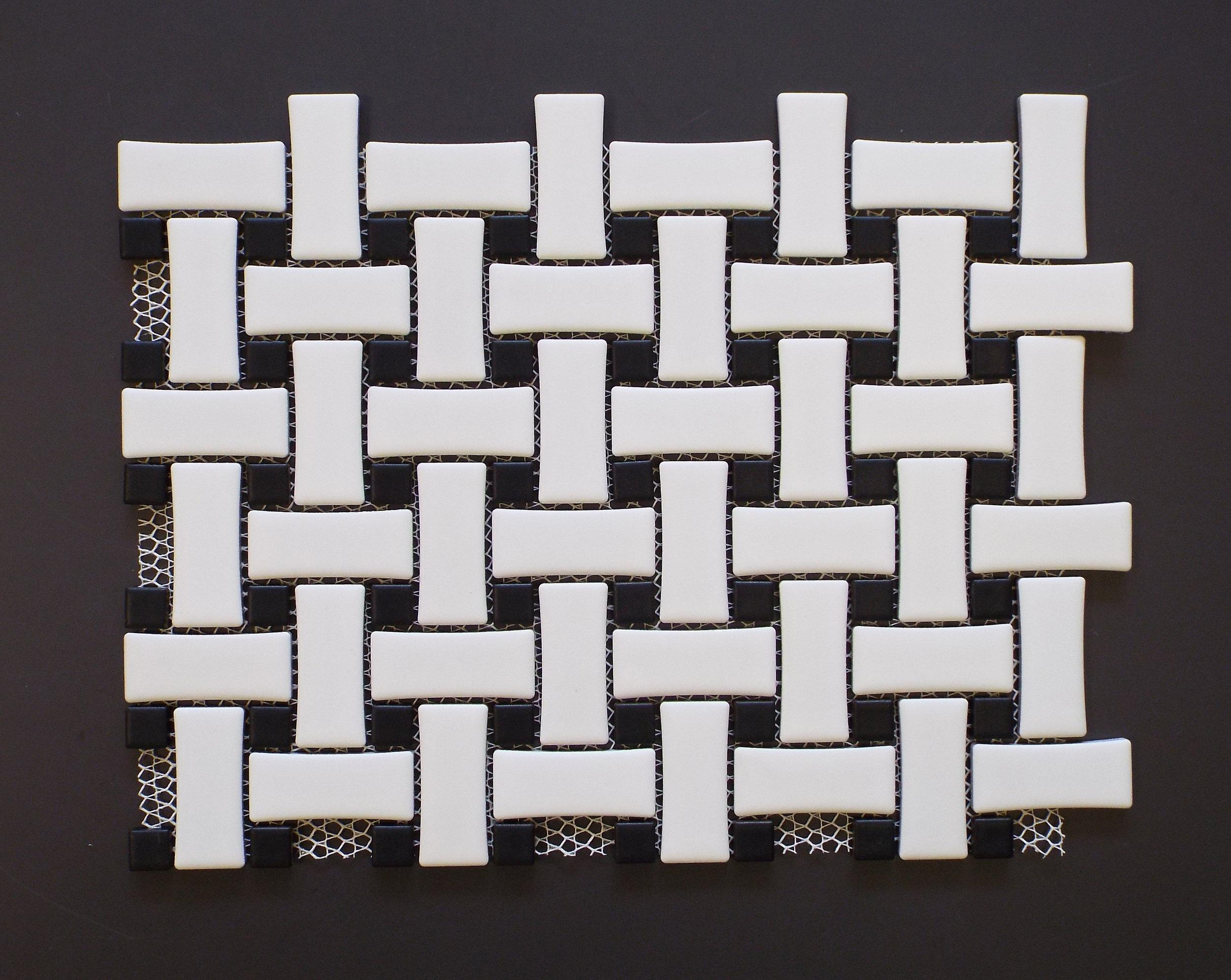 Basketweave - Matte white w/ Matte Black dot [MBW-522]