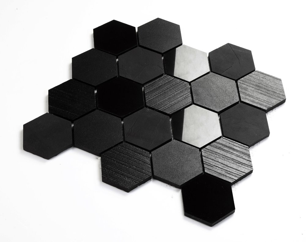 "Fabric  - 3"" Hexagon Mixed - Glazed Mosaic Porcelain"