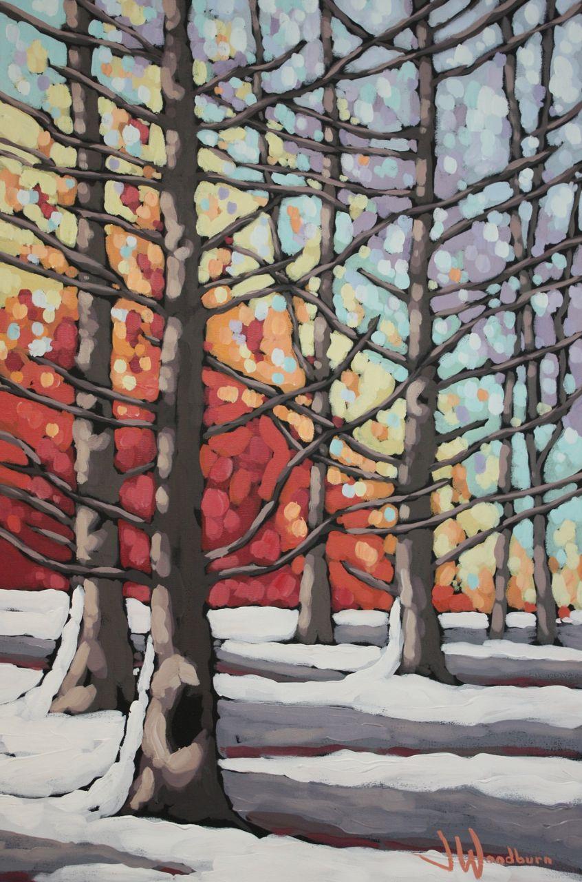 Fiery Winter Cedars