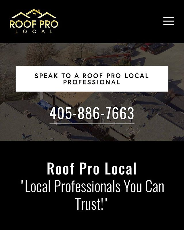 Website built for Roof Pro Local, a company right here in OKC. They can service all roofing needs...real pros! #greenpiemedia