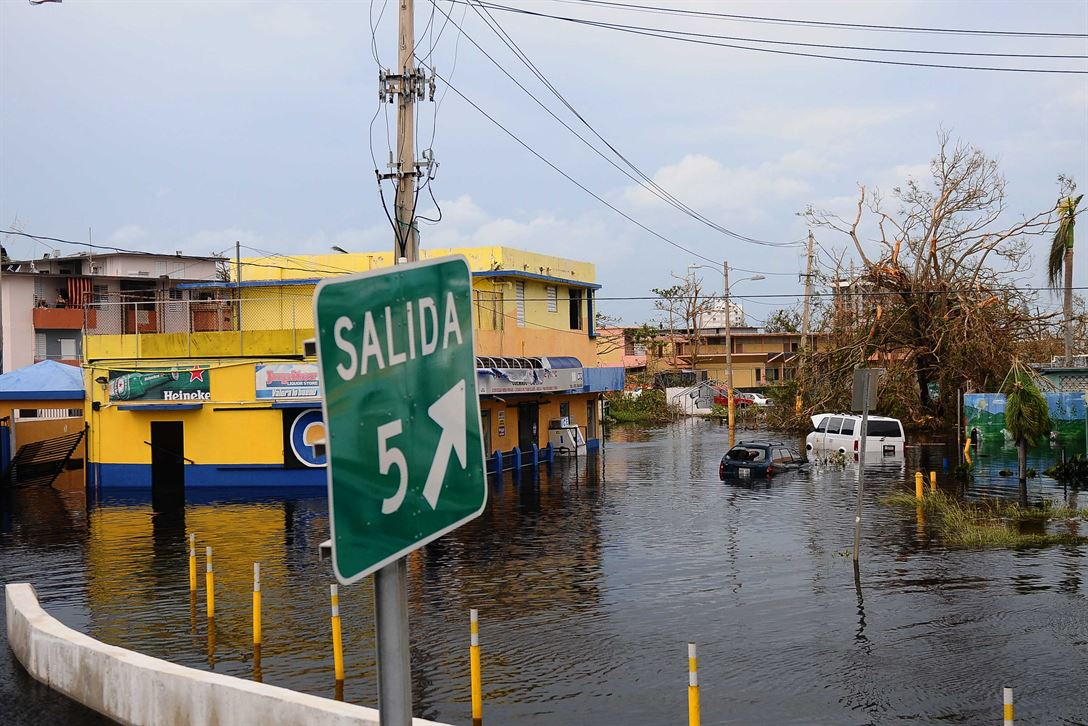 Flood waters remain high in Carolina, Puerto Rico, Sept. 22, 2017, after Hurricane Maria slammed the island.  Puerto Rico National Guard photo by Sgt. Jose Ahiram Diaz-Ramos