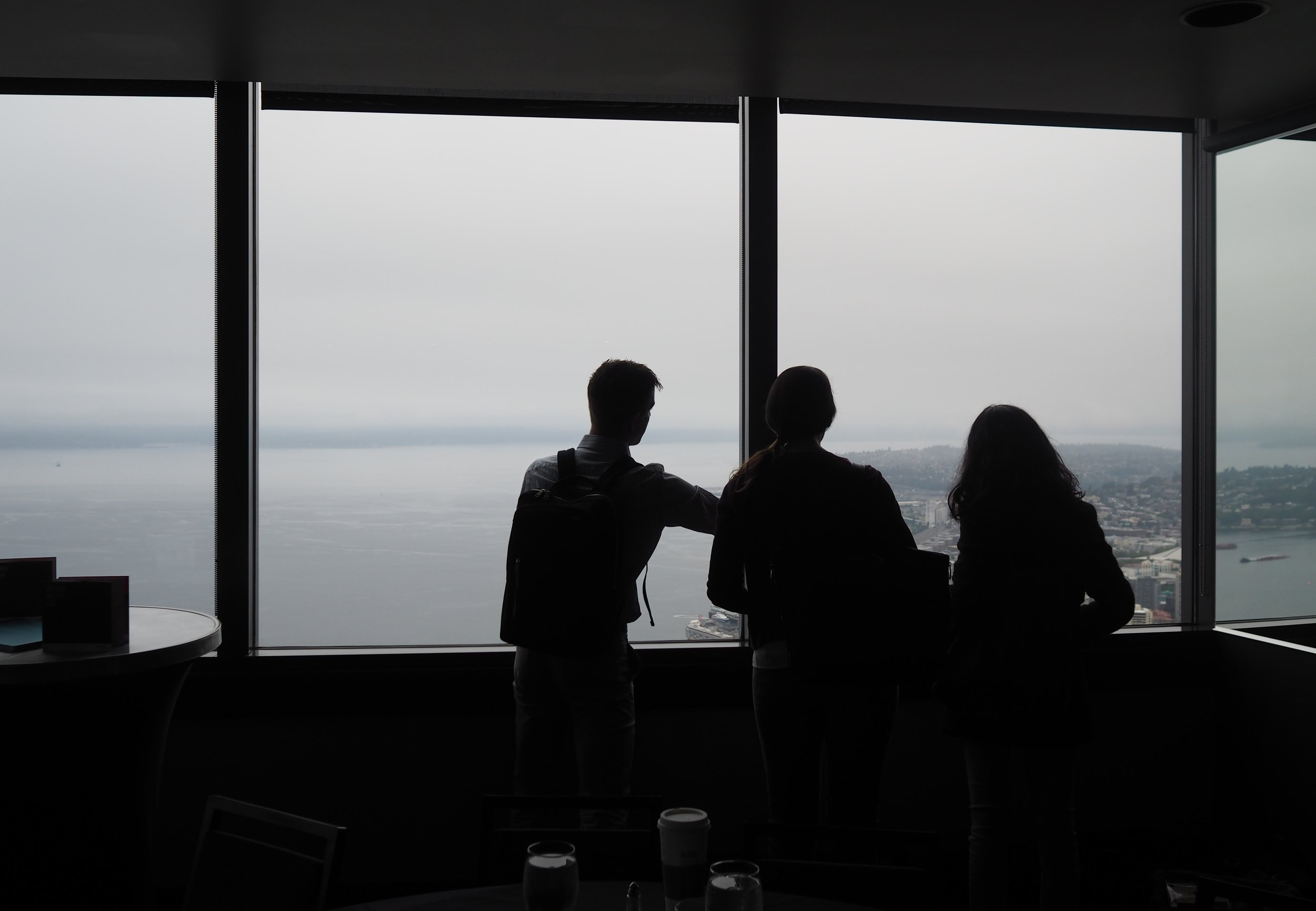 After panelists shared their views on generative research, attendees share a bird's-eye view from the Columbia Tower Club, 75 floors above Seattle.