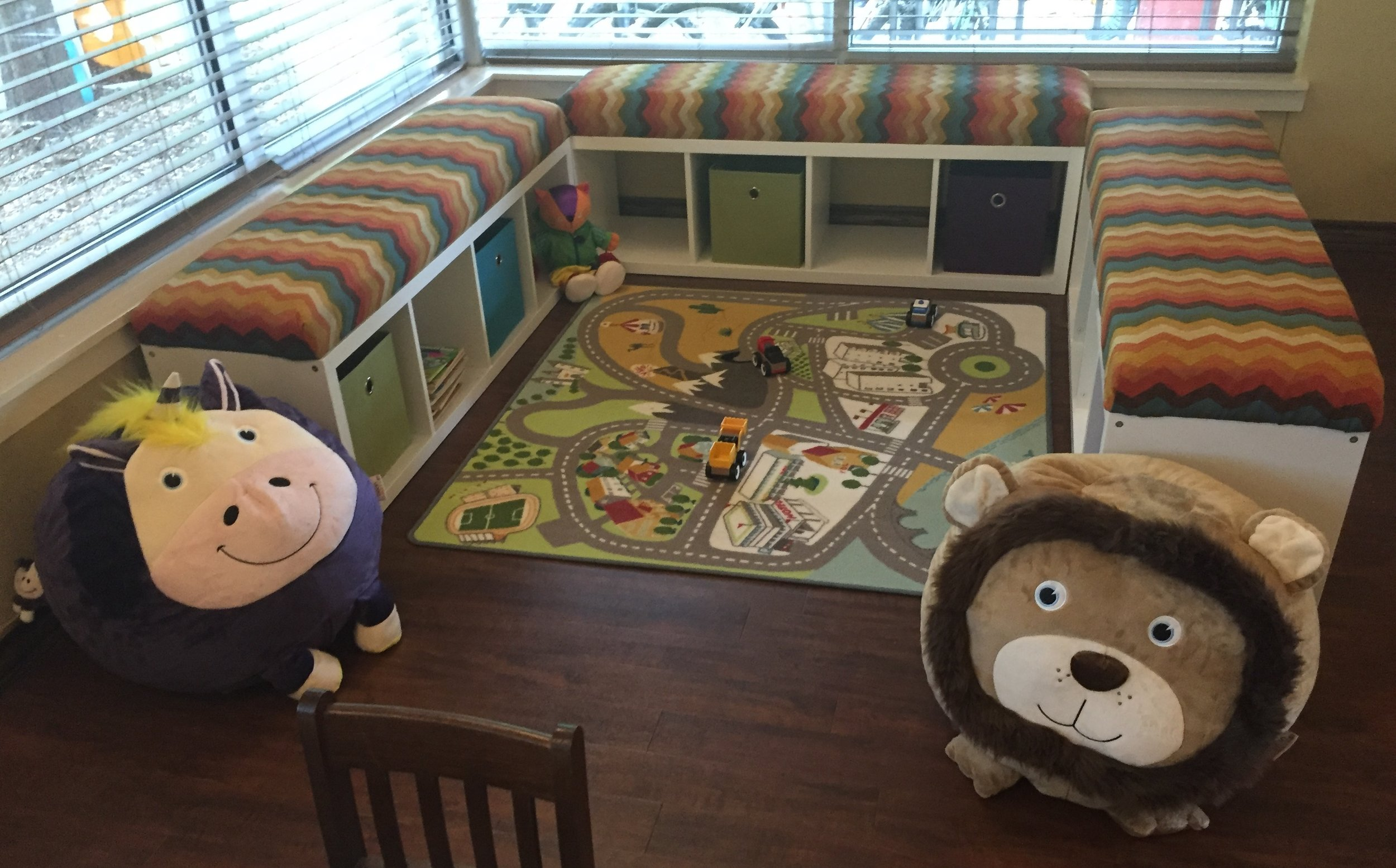 The game and reading corner is now a comfortable place for kids to relax.
