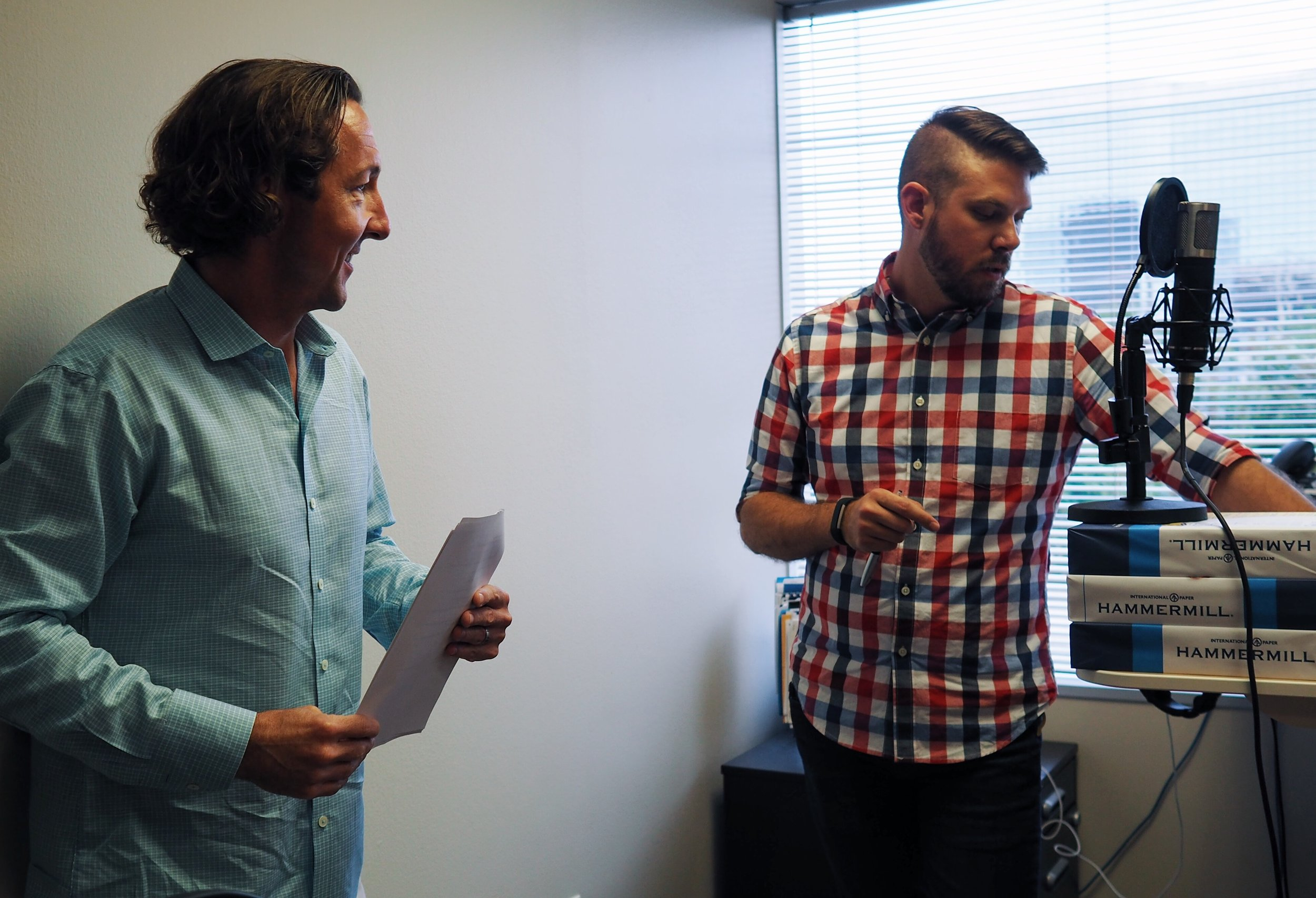 David Lancashire and Mike Townson prep for a projekt202 podcast recording.
