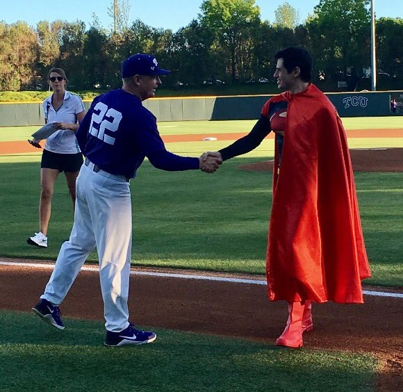 TCU Head Baseball Coach Jim Schlossnagle meets the Man of Steel (projekt202's Daniel Sanchez).