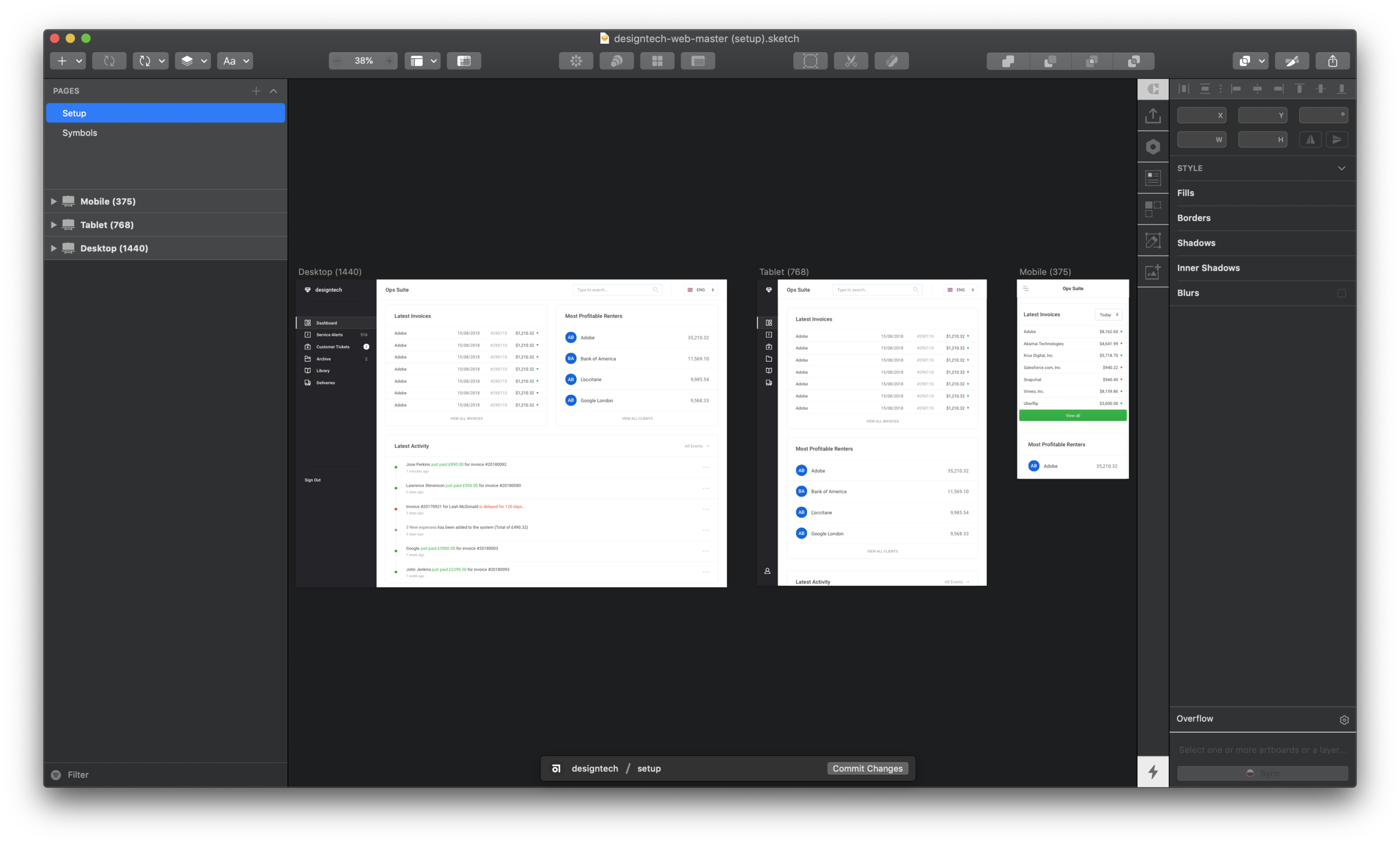 Building a Responsive Dashboard Layout with Abstract, Sketch