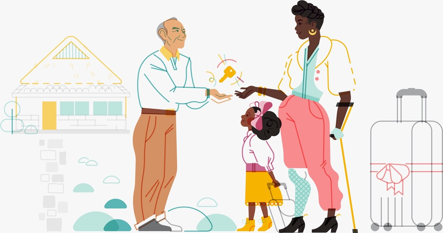 AirBnB updated its brand illustrations to better represent and connect with actual users. Credit: AirBnB, https://www.wired.com/story/jennifer-hom-illustrations-airbnb/
