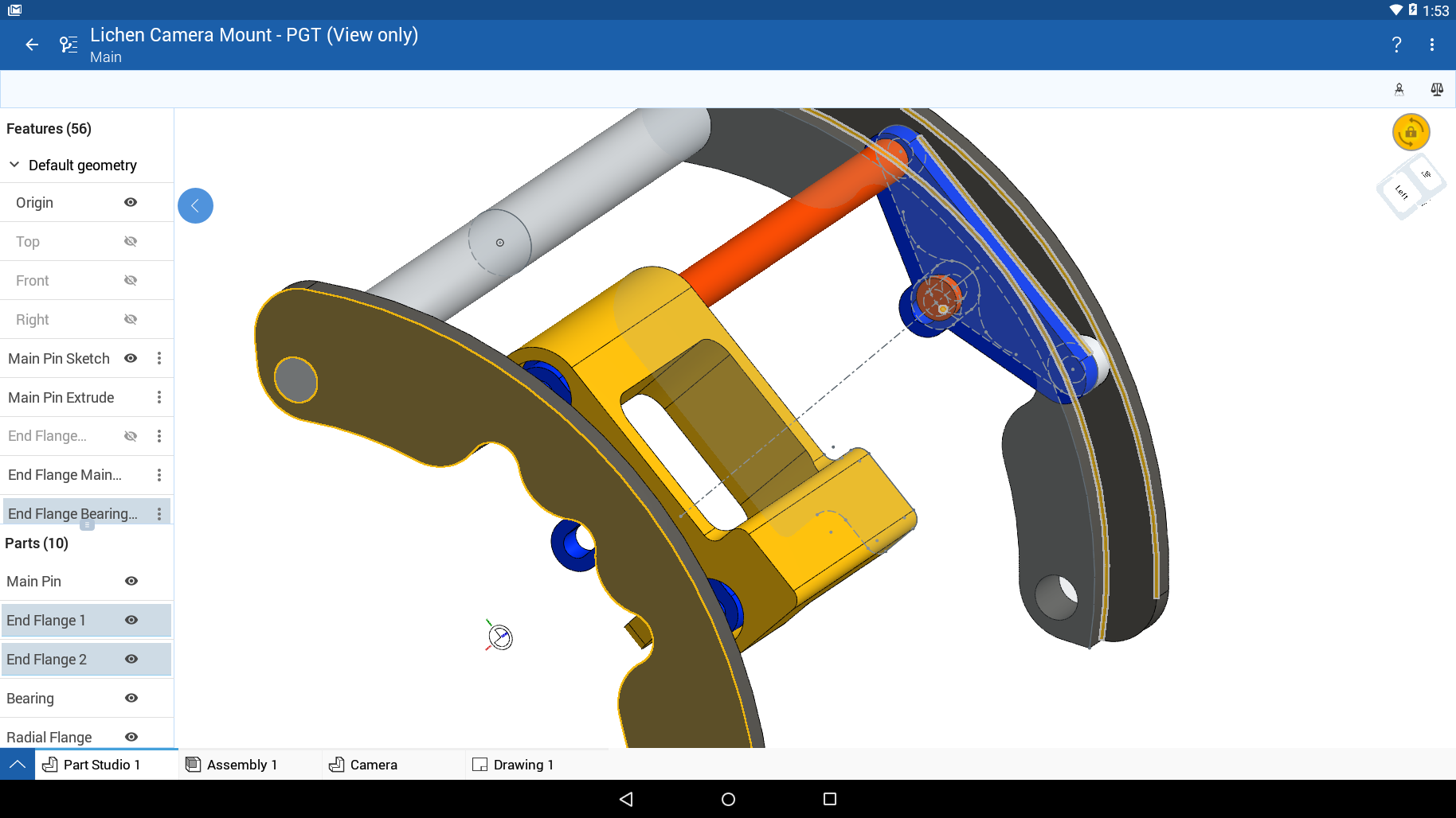 Onshape app running on an Android tablet