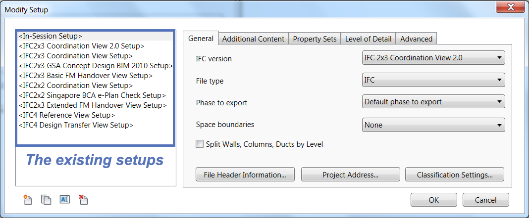 The existing export setups