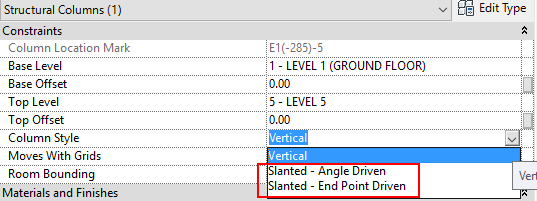 Change the 'Column Style' from Vertical to Slanted (Revit 2016 and earlier)