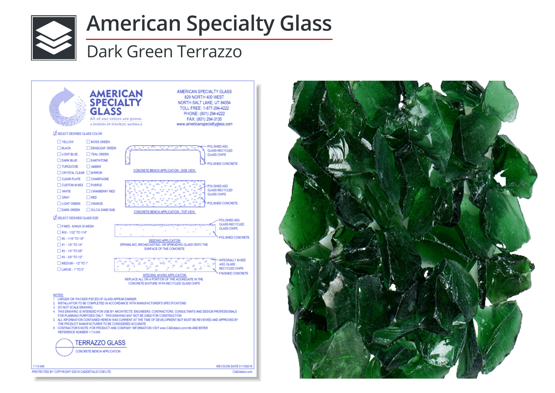 1113-008 Dark Green Terrazzo Glass