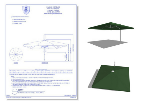 5129-007 Cantilever Square Patio Umbrella