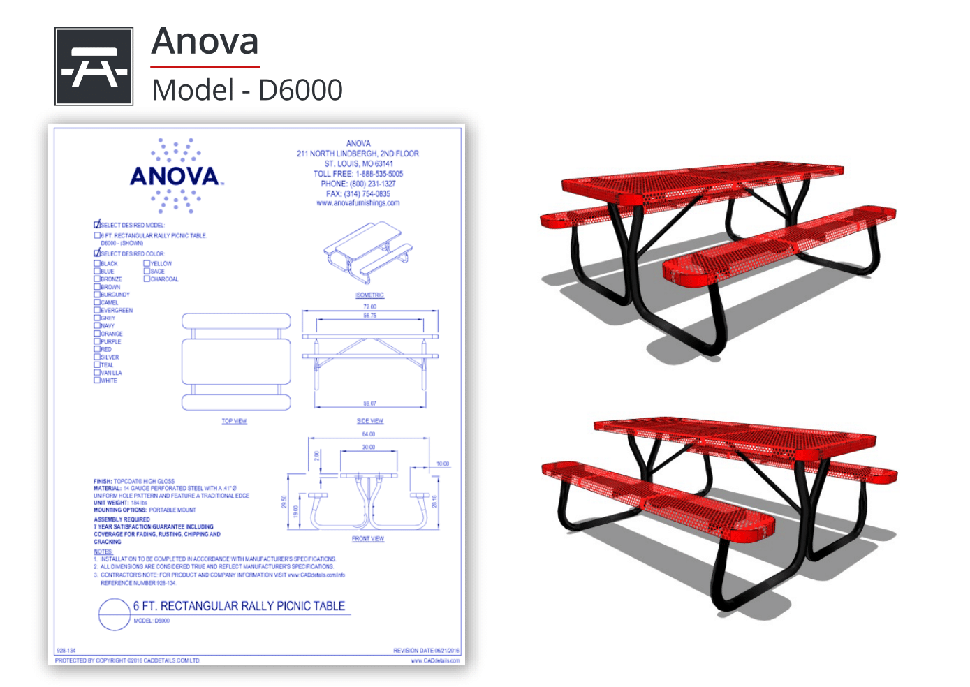 928-134 Rally Picnic Tables