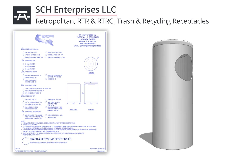 5100-143 Retropolitan Trash & Recycling Receptacles