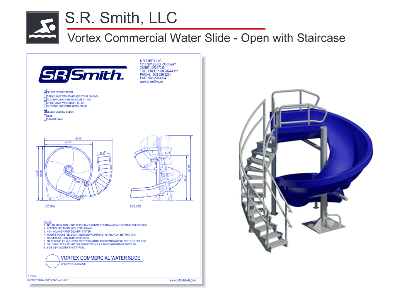 577-019 Vortex Commercial Water Slide - Open with Staircase