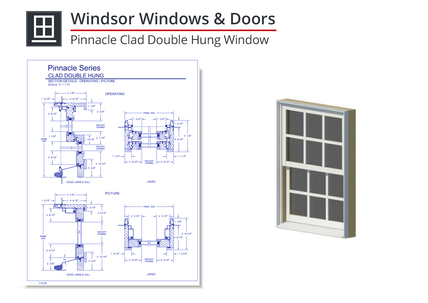 2153-015 Pinnacle Clad Double Hung Window