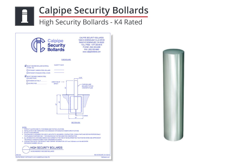 2905-055 K4 Rated Bollard