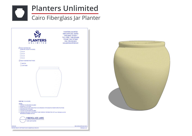 3404-043 Cairo Fiberglass Jar Planter