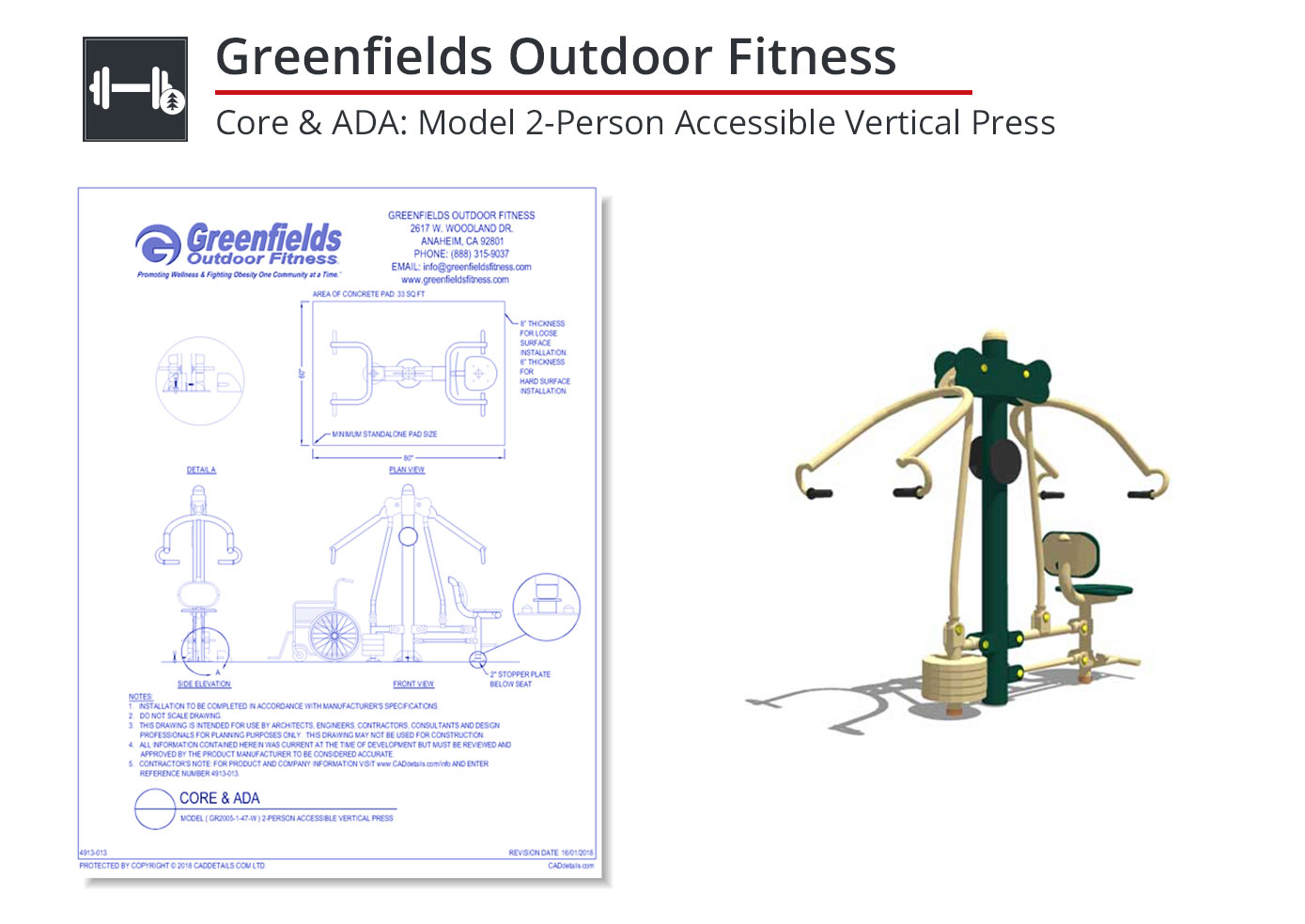 4913-018 2-Person Accessible Vertical Press