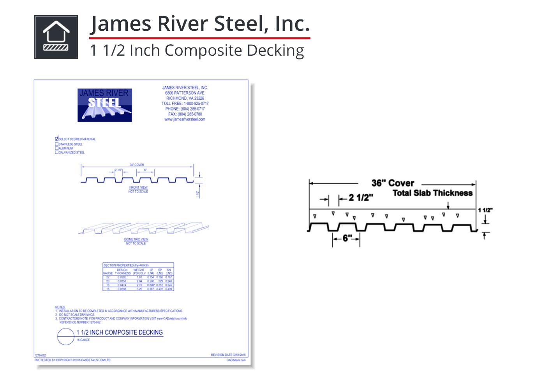 1276-082 1 1/2 Inch Composite Decking