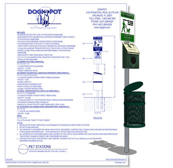 Aluminum DOGIPOT Header Pet Station