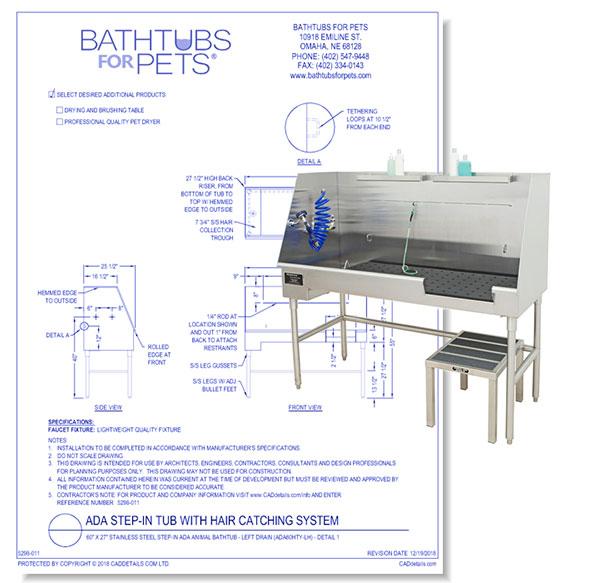 ADA Stainless Steel Animal Bathtub
