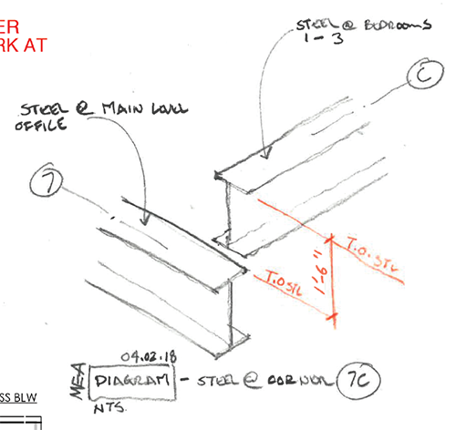 A hand sketch using trace paper over a 3D axis illustrates an area where two beams need to meet. Image: Mark English Architects