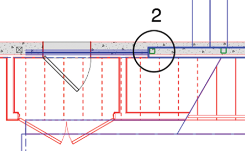 Top-down view of a wall that is multiple stories tall. The red is the basement, blue is the main floor. Image: Mark English Architects