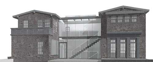 Initial design proposal, exterior. A central glass stair led to a glass walkway on third floor, with light from a long row of skylights. Image: Mark English Architects
