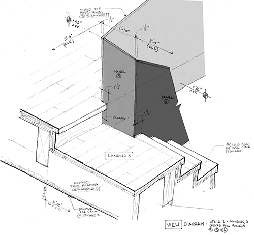 Second view of ascent from basement to first floor, viewed from the other side and looking down. This stair sketch diagram shows the landing and its relationship to the steel panels. The details of the transitions between different elements took precedence over the actual dimensional representation in the sketch. Image: Mark English Architects