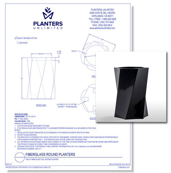 Helix Fiberglass Tall Round Planter